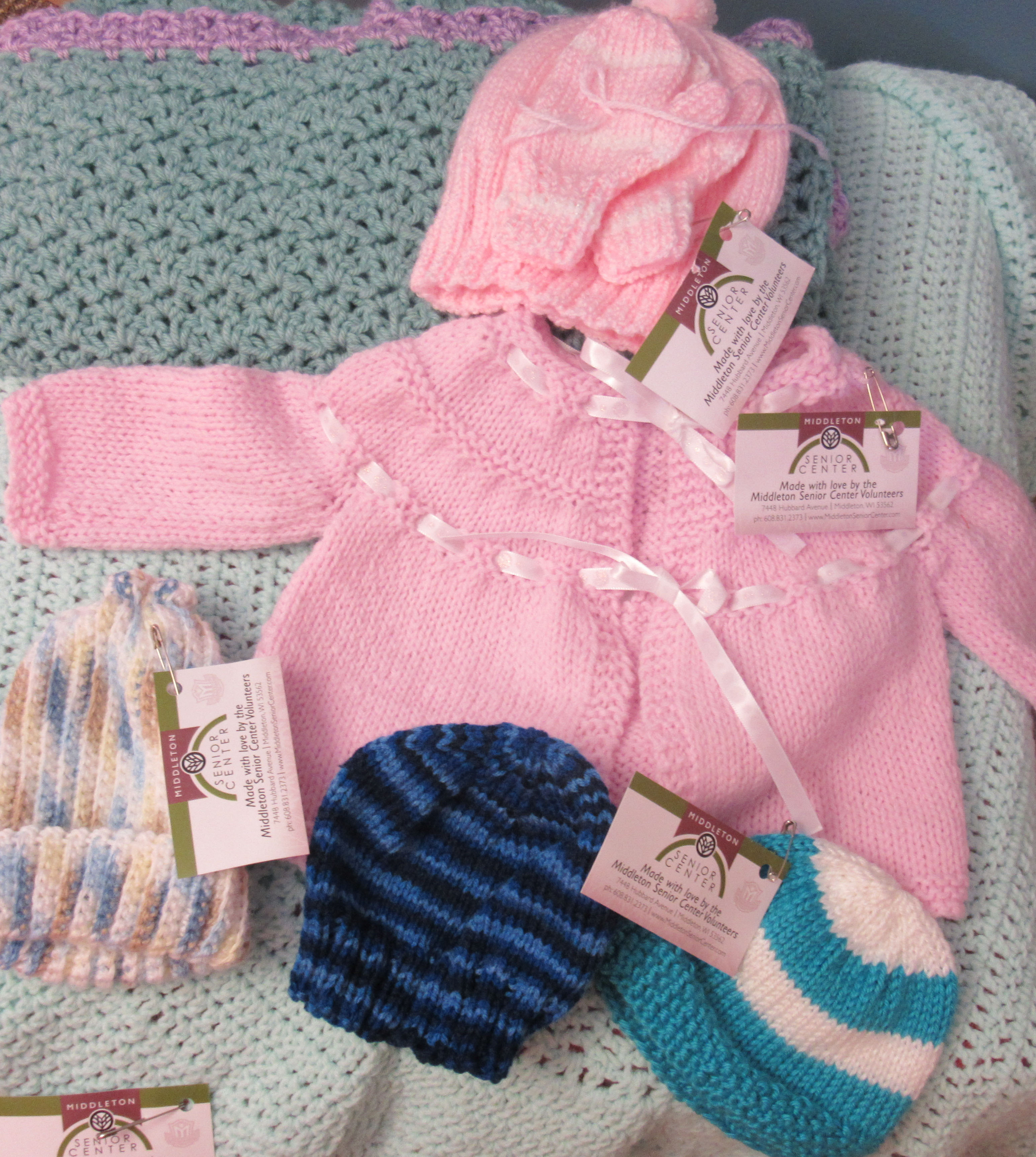Beautiful handmade baby items.