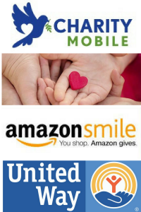 Ways to Give logos - Charity Mobile, Thrivent Financial, AmazonSmile & United Way